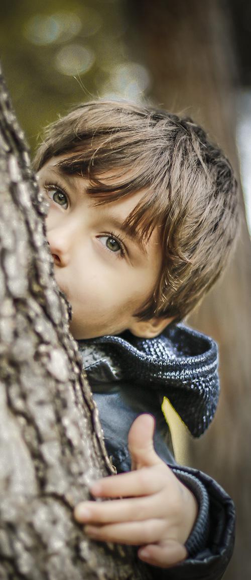 un nino con ojos azules mira de detras de un arbol